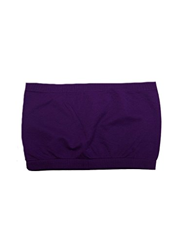 Seamless Bandeau Strapless Tube Top Bra Purple