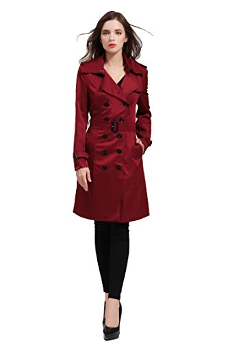 Women British Double Breasted Slim Long Trench Coat Windbreaker Red L