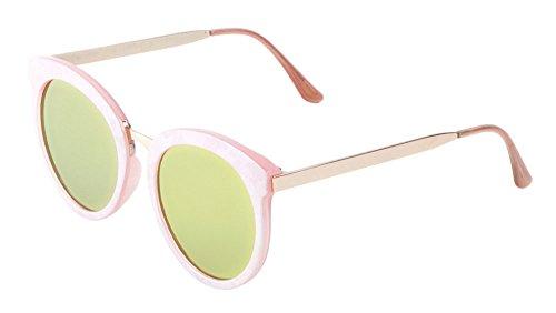 Womens Round Sunglasses Metal Temple Flat Lens (PINK + YELLOW, - Glasses Sun Kardashian Kim