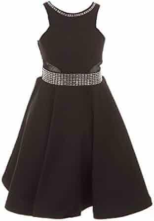17828db019e1 Cinderella Couture Big Girls Black Studs Fitted Junior Bridesmaid Dress 8-16