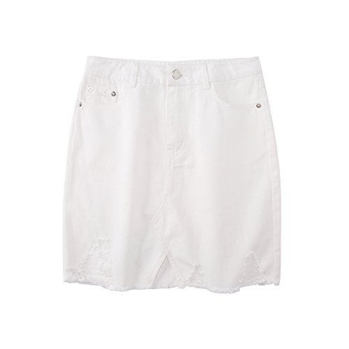 Tronjori Womens Distressed Ripped Denim Short Pencel Skirt, Frayed Hem(M,White)