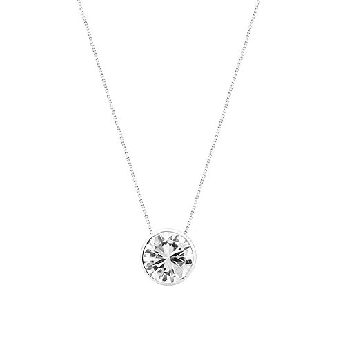 14k White Gold Handmade Necklace With 8mm Round Cubic Zirconia Solitaire