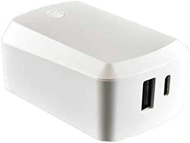 57W Dual Port Wall Charger w//Type C /& USB Ports White AT/&T