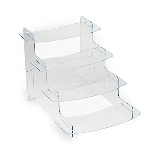 Source One 4 Tiered Acrylic Display Riser, 4 Shelf Platforms, Perfect for Weddings, Parties, Cupcakes, Any Displaying Need (1 Pack, Clear)