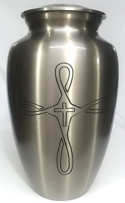 Cremation Urn - Religious Cross Funeral Urn for Human Ashes - Large Adult Size Burial Urn - 100% Brass (Silver) by Ansons Urns