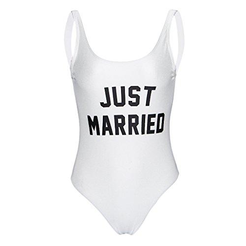 Baoblaze Ladies Women Bridal Just Married One Piece Swimsuit Bathing Suit Costume Summer Hen Party Wedding Bodysuit - White, L