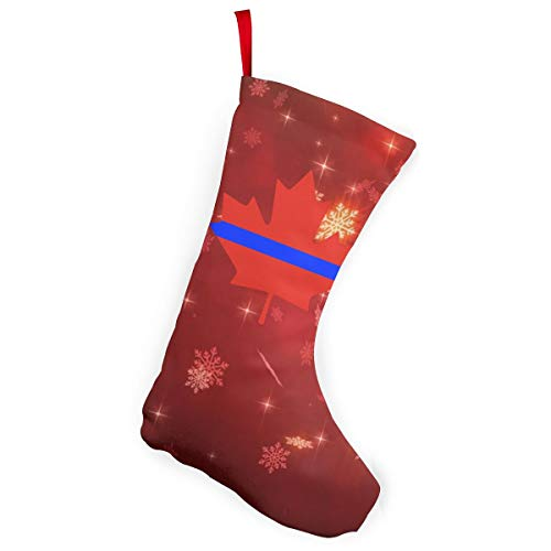 Thin Blue Line Canada Maple Christmas Stockings Candy Gift Bags Fireplace Decoration -
