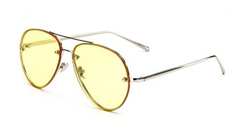 GAMT Aviator Sunglasses for Women Metal Frame Eyeglasses Silver-Yellow