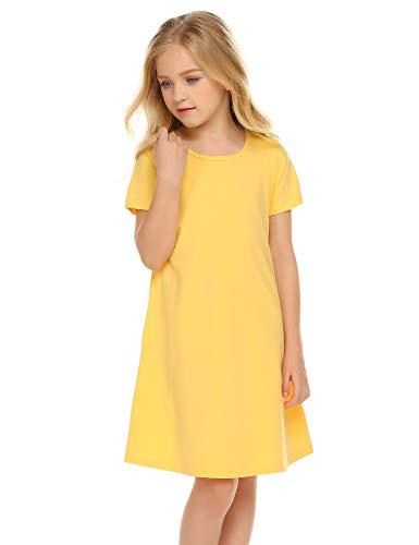 (Balasha Girl's Summer Casual Dresses Short Sleeve Solid Cover up T-Shirt Dress Yellow)