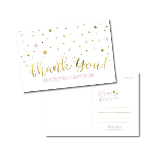 (25 Girl Baby Shower Thank You Note Card Bulk Set, Blank Pink and Gold Cute Modern Sprinkle Postcards, No Envelope Needed Stationery Appreciation For Party Gifts, Personalize Printable Cardstock Paper)