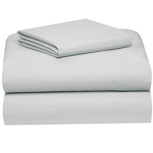 OCM Gray All Cotton 3-Piece Twin XL Sheet Set for College Dorm Residence Hall Extra Large Twin Bed