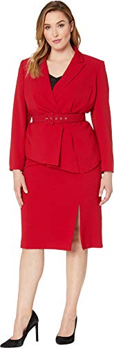 (Tahari by ASL Women's Plus Size Pebble Crepe Skirt Suit with Draped Jacket Red 22 W)
