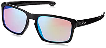 Oakley Men's Sliver Non-Polarized Iridium Rectangular Sunglasses, Polished Black, 57.04 mm