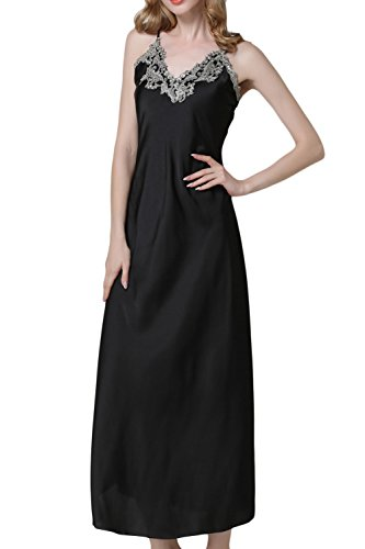 ASHER FASHION Asherbaby Women's Nightdress Satin Nightgowns Long Chemise Sleepwear Black M ()