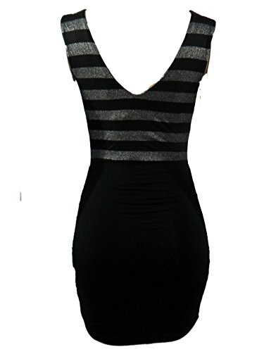 Cocktail Striped Dress Ruched Silver Brand Black Aqua 1vqp1