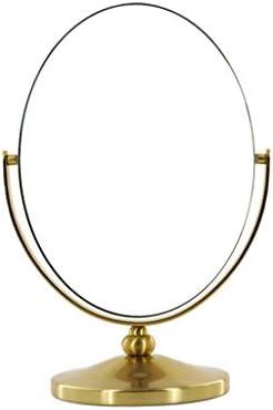 LGQ-LIFE ミラー、ゴールドドレッシング化粧鏡、デスク無料立ちポータブルマルチアングルローテーション