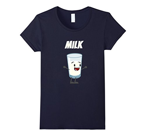 Milk Woman Costume (Womens Milk and Cookies Couples Halloween Costume T-Shirt Medium Navy)