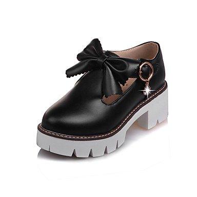 Cómodo y elegante soporte de zapatos de las mujeres pisos primavera verano otoño invierno otros cuero sintético oficina y carrera parte y vestido de noche soporte de tacón con lazo negro, rosa, color  negro