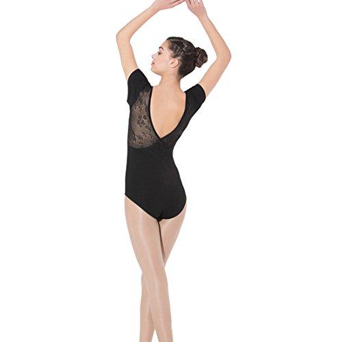 Limiles Women's Ballet Dance Short Sleeve Lace V Back (Swan Lake Ballet Costume)