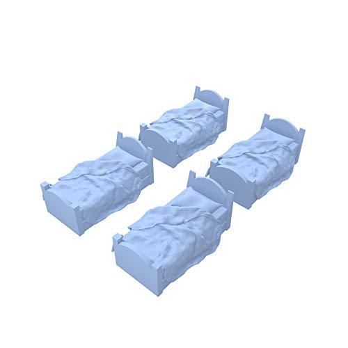 Arctic 3D 4 Pack Bed Miniature Model Set 28mm for Dungeons & Dragons, Pathfinder, RPG, Wargaming, Tabletop, Terrain, Dwarven Forge (Unmade Sheets) ()