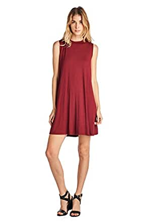 ReneeC. Women's Baby Soft Natural Bamboo Sleeveless Tunic Dress - Made in USA (Small, Burgundy)
