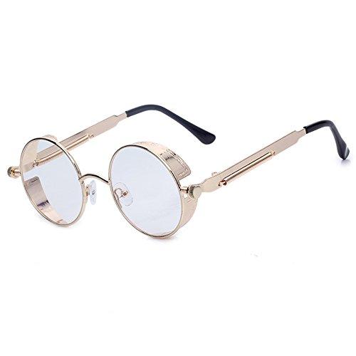 sol de los sol inspirado de estilo de el hombres de punk gafas retro de de gafas Gafas de sol lente marco con para de metal gafas Transparente de cubierta lateral vapor ronda la círculo con caso 56A0xXT