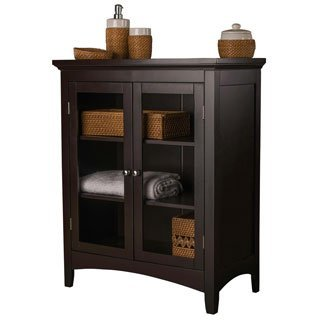 Double Door Floor Cabinet (Give Yourself Additional Space and Style with This Dark Espresso Double Door Floor Cabinet. Featuring Two Glass Doors and Three Interior Shelves. Ideal for Storing Items in Your Home or Office. Guaranteed to Refresh Any Decor.)