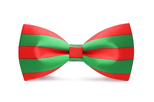 Solatin Mens Pre-Tied Satin Bowtie Adjustable Length Solid Color Patterned bow tie