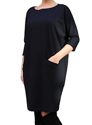 Pocket Dresses Women Pencil Coolred Neck With Crew Dress Relaxed Club Fit Black w7wxF6