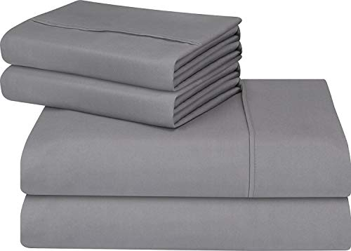 Utopia Bedding gentle applied Microfiber Wrinkle Fade and Stain reluctant 4-Piece King Bed piece Set - Grey