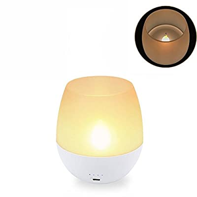 LED Night Light Flameless Candle Bedside Lamp for Baby Sleeping,Blowing Sensor Control Tea Light USB Rechargeable Battery,Dimmable Brightness Nightlight for Home&Kitchen Outdoor Use,Warm White