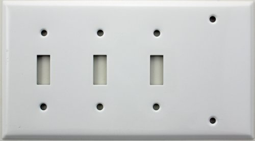 Smooth White Four Gang Wall Plate - Three Toggle Switches One Blank