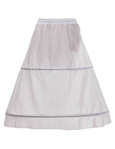 Remedios 2 Hoops Bridal Crinoline White Petticoat Half Slip Underskirt,White -