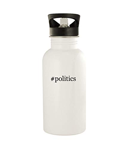 #politics - 20oz Hashtag Stainless Steel Water Bottle, White