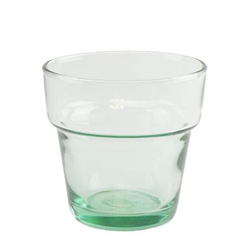 Vintage Anchor Hocking Clear Glass Flower Pot (12 pcs) - Green Tint, Vase Votive Candle Holder Cup Oyster Tea