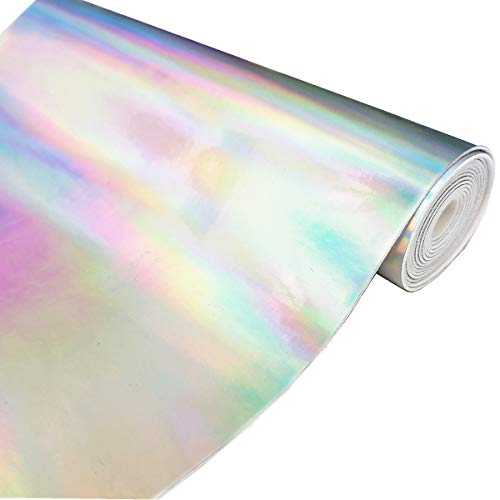 ZAIONE Hologram Mirrored Faux PU Leather Fabric 8x 53 (21cm x 135cm) Roll Colorful Metallic Holographic Vinyl Fabric Synethic Leather for Shoes Bag Bow Earrings Making DIY Craft(Silver)