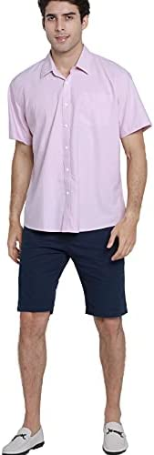 """31RG14CHztS. AC JCFL 100% Cotton Button Down Short Sleeve Oxford Shirt,Business Casual Dress Shirt for Men Relaxed Fit    JCFL continuously focuses on development of trendy cloth embracing the preferences as: """"Easy Look"""" Style, """"Washing Resistance"""" Quality, """"Comfy"""" Customer Experience and """"Relatively Lower"""" Cost Men's Oxford Shirt Material: 100% Cotton ¡ñ Machine Wash Low/ Hand Wash ¡ñ Tumble Dry Low Please refer to the following US SIZE CHART before purchasing S: Half Chest 22.6""""-----Shoulder 18.1""""---Length 30.3""""---Sleeve 8.66"""" M: Half Chest 23.6"""" -----Shoulder 18.7""""---Length 30.7""""---Sleeve 9.06"""" L: Half Chest 24.6""""-----Shoulder 19.3""""---Length 31.1""""---Sleeve 9.45"""" XL: Half Chest 25.6""""-----Shoulder 19.9""""---Length 31.5""""---Sleeve 9.84"""" XXL: Half Chest 26.6""""-----Shoulder 20.5""""---Length 31.9""""---Sleeve 10.24"""" Due to the manual measurements,SIZE DEVIATIONS VARY BETWEEN 0.5-1.5 INCH The color could be slightly different between on the screen and in practice. Thanks for your understanding!"""