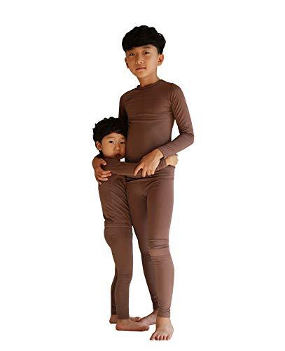 Functional Fabric Thermal Long Underwear Set Breathing Base Layer Long John Pajama Boy Girl Toddler (Brown, 2~3Y(7))