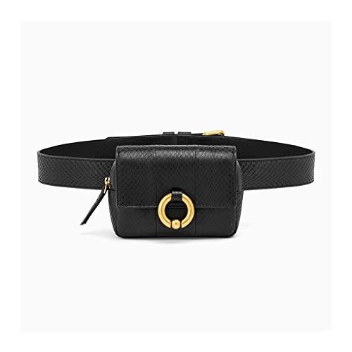 HAOLIEQUAN Waist Pack Vogue Design Waist Bags Fanny Pack for Women High-End Leather Serpentine Lady Belt Bags Phone Bag Handy Bum Bag,A