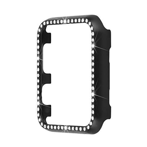 Edge Series Diamond (iTerk Compatible with Apple Watch Case 44mm,Bling Crystal Diamonds Plate Cover Bumper Protective Frame Compatible with iWatch Face Compatible with Apple Watch Series 4 (Black Diamond 44mm))