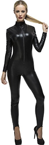 Ladies Sexy Miss Dominate Whiplash Black Catsuit Hen Do Night Party Role Play Halloween Fancy Dress Costume Outfit (UK 12-14) ()