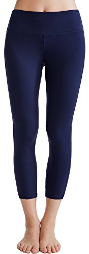 Oalka Women's Yoga Capris Power Flex Running Pants Workout Leggings Navy Blue M (Pants Blue Stretch)