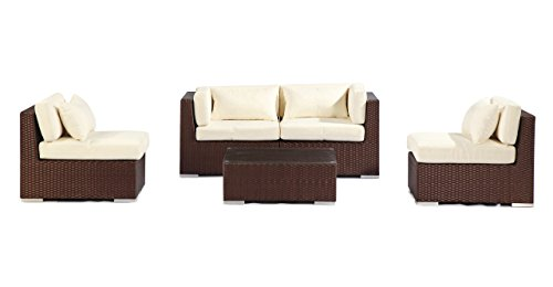 Kardiel Modify-It Aloha Kauna 5 Piece Espresso Wicker Set Patio Outdoor Furniture Loveseat/Sofa, Ivory For Sale