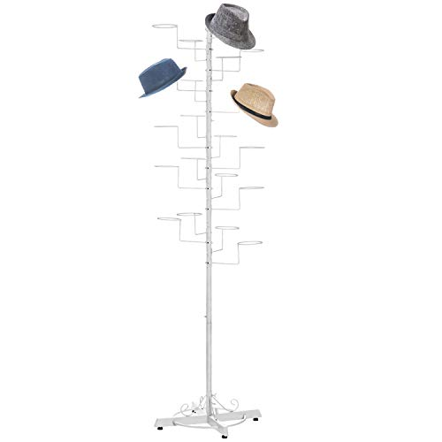 Modern White Metal Freestanding Customizable Retail Display Stand with 20 Circular Hooks for Hats and Wigs