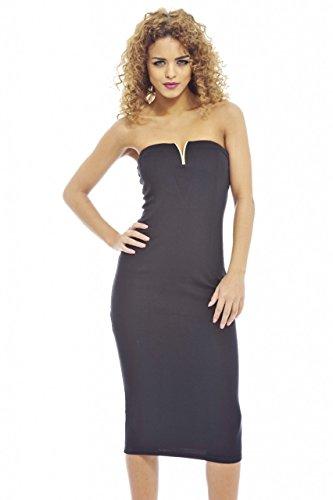 UPC 889020043149, AX Paris Women's Gold Plunge Front Midi Dress(Black, Size:6)