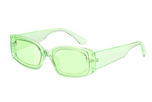 FEISEDY Creative Rectangle Sunglasses Women Fashion Thick Frame UV400 Protection ()