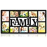 NEX Family Picture Frame Collage Wall Hanging 10 Openings Four 5X7 and Six 4X6 Photos Plastic Black