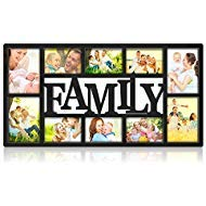 (NEX Family Picture Frame Collage Wall Hanging 10 Openings Four 5X7 and Six 4X6 Photos Plastic)