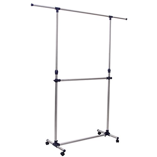 SONGMICS Adjustable Double Rods Garment Rack Rolling Hanging Clothes Racks with Brake Wheels ULLR41B