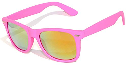 1 Pair Mirrored Reflective Red Lens Sunglasses Pink Matte Frame Horn Rimmed - Pink Glasses Sun